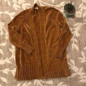 LOFT luxe chenille mustard golden cardigan sweater
